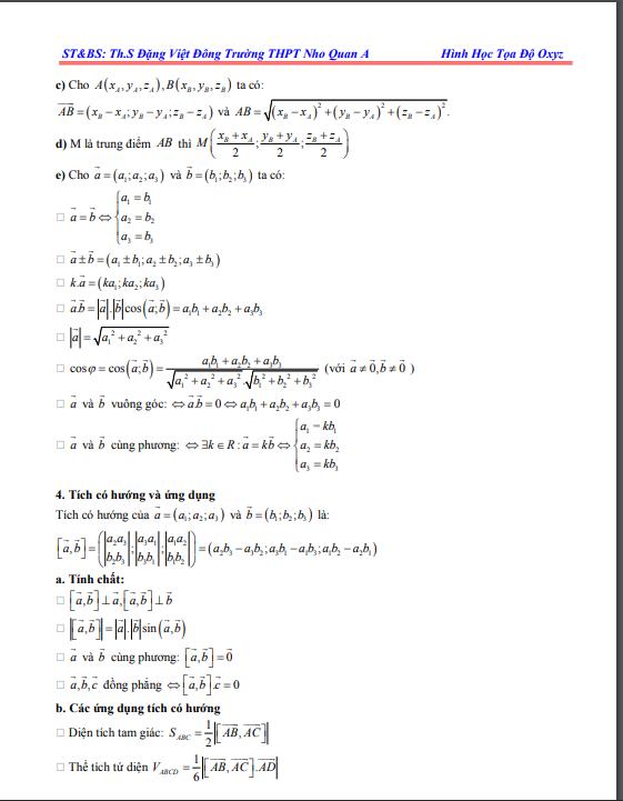 Tổng hợp Bài tập trắc nghiệm chuyên đề hình học tọa độ Oxyz